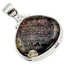 13.15cts natural black honduran matrix opal 925 sterling silver pendant r33850