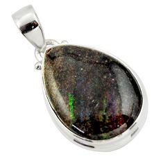 15.58cts natural black honduran matrix opal 925 sterling silver pendant r33852