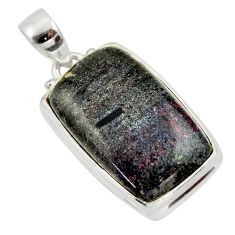 17.22cts natural black honduran matrix opal 925 sterling silver pendant r33853