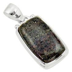 12.58cts natural black honduran matrix opal 925 sterling silver pendant r33855