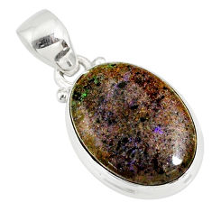 10.72cts natural black honduran matrix opal 925 sterling silver pendant r78005