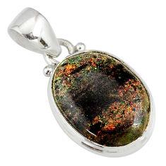 9.68cts natural black honduran matrix opal 925 sterling silver pendant r78008