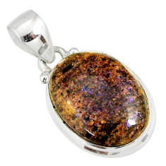 10.67cts natural black honduran matrix opal 925 sterling silver pendant r78011