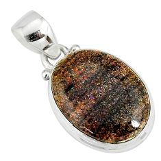 10.15cts natural black honduran matrix opal 925 sterling silver pendant r78019