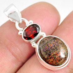 5.92cts natural black honduran matrix opal red garnet 925 silver pendant r75973