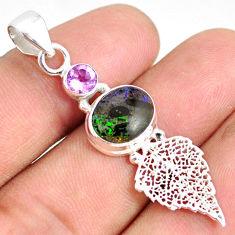 5.43cts natural black honduran matrix opal silver deltoid leaf pendant r76161