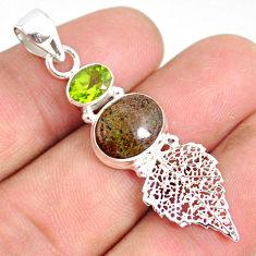 5.90cts natural black honduran matrix opal silver deltoid leaf pendant r76167