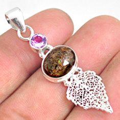 5.84cts natural black honduran matrix opal silver deltoid leaf pendant r76175