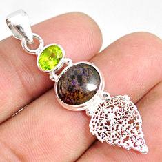 6.18cts natural black honduran matrix opal silver deltoid leaf pendant r76184