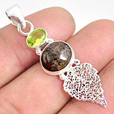 6.41cts natural black honduran matrix opal silver deltoid leaf pendant r76190