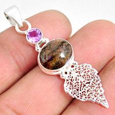 5.90cts natural black honduran matrix opal silver deltoid leaf pendant r76195