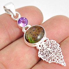 5.50cts natural black honduran matrix opal silver deltoid leaf pendant r76207