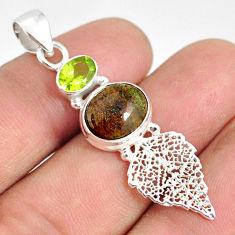 6.50cts natural black honduran matrix opal silver deltoid leaf pendant r76217