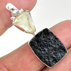 15.08cts natural black libyan desert glass tektite 925 silver pendant t14221