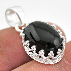 5.92cts natural black onyx 925 sterling silver crown pendant jewelry t43341