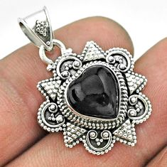 4.82cts natural black onyx 925 sterling silver heart pendant jewelry t56050