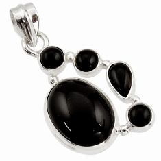 14.17cts natural black onyx 925 sterling silver pendant jewelry r43189