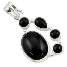 14.37cts natural black onyx 925 sterling silver pendant jewelry r43197