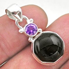 6.91cts natural black onyx amethyst 925 sterling silver hexagon pendant t46485