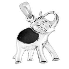 2.87gms natural black onyx enamel 925 silver elephant pendant a88397 c13779