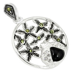 Natural black onyx marcasite 925 sterling silver pendant jewelry c21976