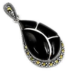 6.97cts natural black onyx marcasite enamel 925 sterling silver pendant c16720