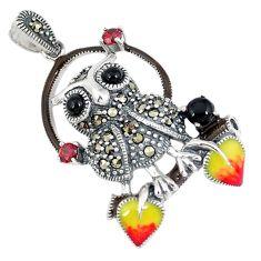 Natural black onyx marcasite enamel 925 sterling silver owl pendant c22848