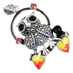 Natural black onyx marcasite enamel 925 sterling silver owl pendant c22849