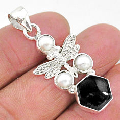 6.53cts natural black onyx pearl 925 sterling silver dragonfly pendant r96917