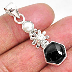 4.82cts natural black onyx pearl 925 sterling silver flower pendant r93303