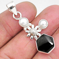 6.05cts natural black onyx pearl 925 sterling silver flower pendant r93319