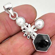 6.70cts natural black onyx pearl 925 sterling silver flower pendant r96886