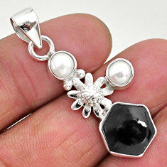 6.70cts natural black onyx pearl 925 sterling silver flower pendant r96888
