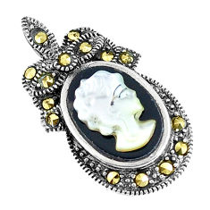 4.89cts natural black onyx pearl cameo face 925 sterling silver pendant c15801