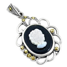 8.05cts natural black onyx pearl cameo face 925 sterling silver pendant c20867