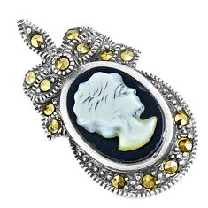 5.19cts natural black onyx pearl cameo face 925 sterling silver pendant c20869