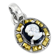 4.18cts natural black onyx pearl cameo face 925 sterling silver pendant c20873