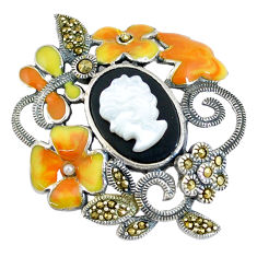 5.98cts natural black onyx pearl enamel 925 silver lady face pendant c16484