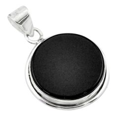 11.20cts natural black onyx round 925 sterling silver pendant jewelry t53722