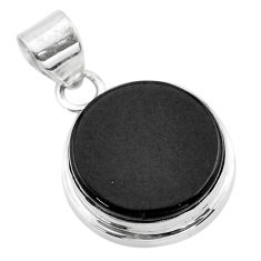 16.73cts natural black onyx round 925 sterling silver pendant jewelry t53727