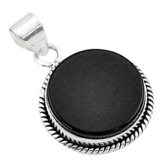 15.08cts natural black onyx round 925 sterling silver pendant jewelry t53733