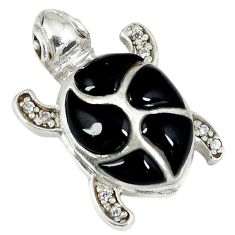 5.54cts natural black onyx topaz 925 sterling silver turtle pendant c12481