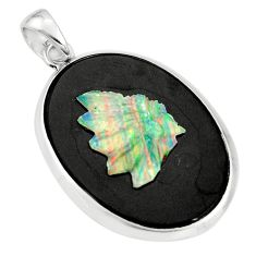 17.86cts natural black opal cameo on black onyx 925 silver pendant r20202