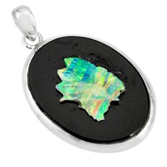 18.25cts natural black opal cameo on black onyx 925 silver pendant r20203