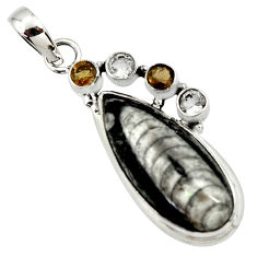 17.38cts natural black orthoceras smoky topaz 925 sterling silver pendant r36063