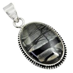 18.15cts natural black picasso jasper 925 sterling silver pendant jewelry d41242