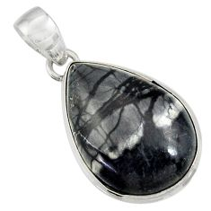 Clearance Sale- 18.15cts natural black picasso jasper 925 sterling silver pendant jewelry d41243