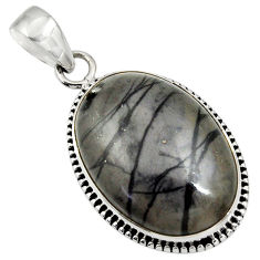 Clearance Sale- 26.70cts natural black picasso jasper 925 sterling silver pendant jewelry d41252