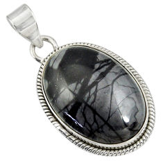 Clearance Sale- 22.02cts natural black picasso jasper 925 sterling silver pendant jewelry d41255