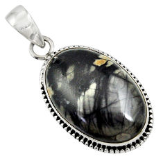 Clearance Sale- 19.72cts natural black picasso jasper 925 sterling silver pendant jewelry d41259